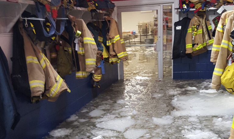 Icy tidal waters in the Beach Haven Volunteer Fire Company station house Saturday evening.