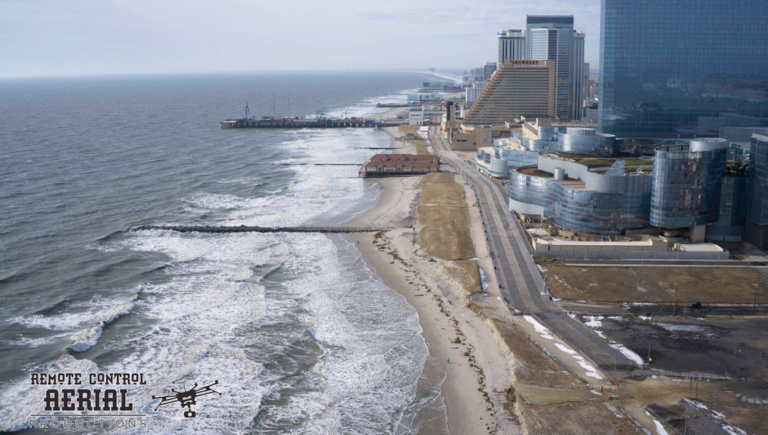 Northern Atlantic City following the latest nor'easter on Jan. 26, 2016. The state documented major damage to the city's beaches. (Image: Remote Control Aerial Productions)