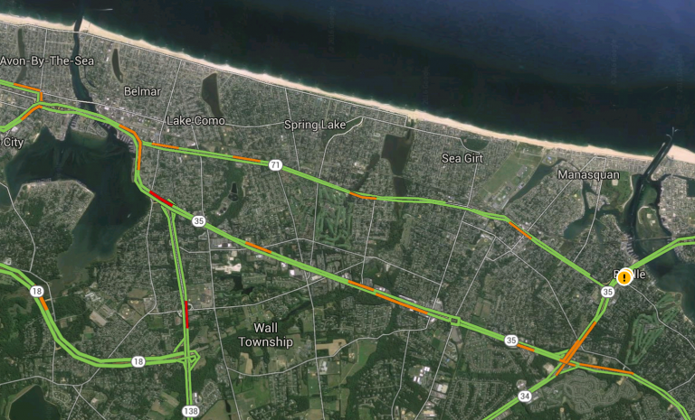 Portions of Route 35 closed in Monmouth County due to tidal