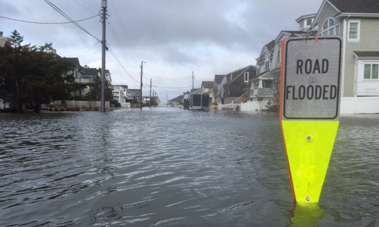 Tidal flooding in Stone Harbor this morning as photographed by Zeke Orzech (@Zeke_O via Twitter).