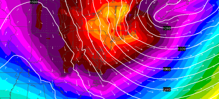 Brutal cold arriving streaming in from Canada on Sunday morning. (Image: GFS model via Weather Underground)