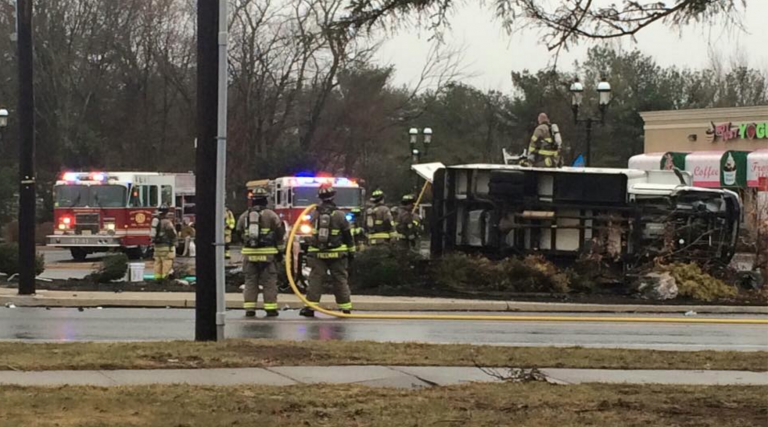 Firefighters on the scene of a crash involving an overturned truck on Route 9 in Stafford this afternoon. (Photo courtesy of Roman Isaryk)