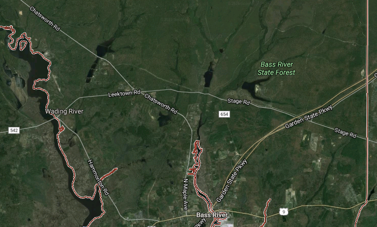 Authorities located a small place Sunday afternoon that crashed in the Bass River State Forest. (Image: Google Maps)