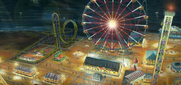 An artistic rendering of the expanded Casino Pier featuring the roller coaster and ferris wheel.
