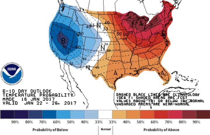 A outlook from the National Weather Service's Climate Prediction Center showing a high probability of above normal temperatures between Jan. 22 and Jan. 26.