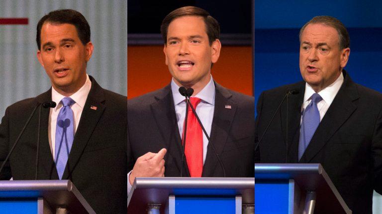 Republican presidential candidates (from left) Wisconsin Gov. Scott Walker, Sen. Marco Rubio, R-Fla., and former Arkansas Gov. Mike Huckabee. (AP photos)