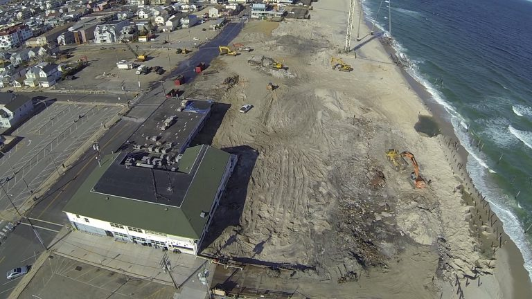 Chris Mercer's helicopter about the enter the Seaside boardwalk fire zone on the first anniversary of Superstorm Sandy. (Image: Mercer Photography)