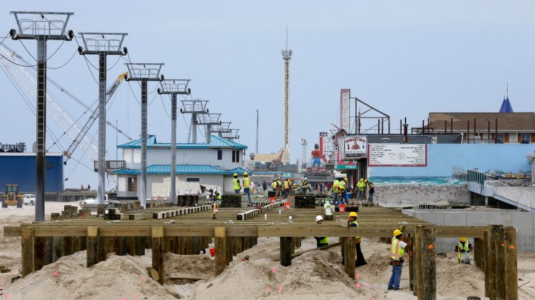 Construction of the new boardwalk on the northern end of Seaside Heights, N.J., Saturday, May 18, 2013. (AP Photo/Mel Evans)