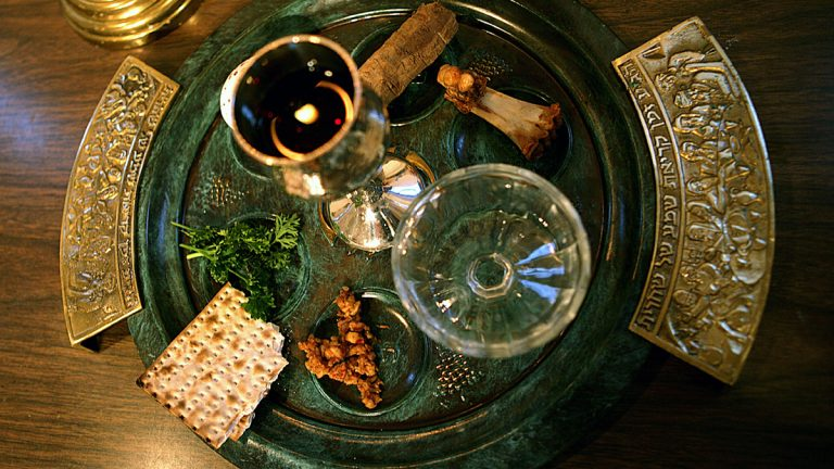 A traditional Passover seder plate is shown. The foods on the plate are symbols to help tell the story of the exodus of the Jewish people from Egypt as told in the old Testament of the Bible. (AP Photo/Dr. Scott M. Lieberman, file)