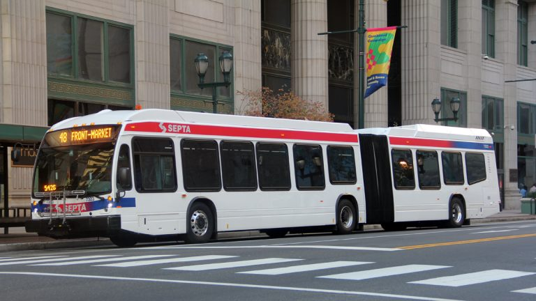 SEPTA has added 12 new articulated hybrid buses to Route 48 that runs through North Philadelphia, Brewerytown, and Fairmount to Center City. (Tom MacDonald/WHYY)