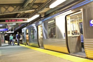A SEPTA Market-Frankford line train prepares to leave the station. (Kimberly Paynter/WHYY)