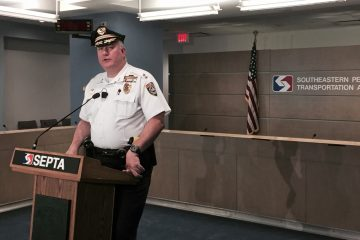 SEPTA Chief of Police Tom Nestel held a press conference Monday at SEPTA Headquarters to discuss steps SEPTA takes to prevent objects from being thrown at trains. (Steve Trader/WHYY)