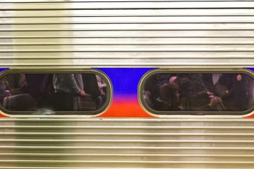 A crowded SEPTA Regional Rail train this morning at Suburban Station. (Kimberly Paynter/WHYY)