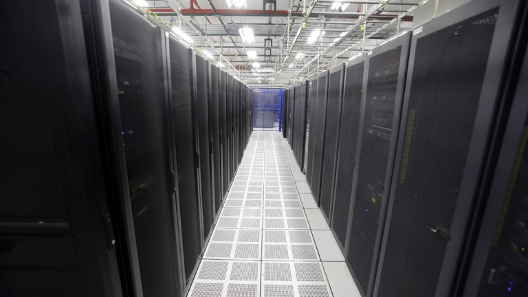 In this Aug. 29, 2014 photo, rows of servers are lined up at BlueBridge Networks in Cleveland. A new Pa. bill wants to attract more data centers like this to the state by providing a sales tax exemption on equipment to open or expand a data center. (AP Photo/Mark Duncan)