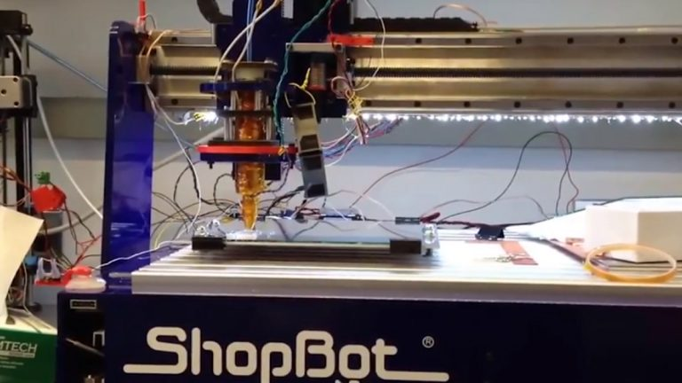 The ShopBot 3D printer lays down  carbohydrate tubing that will form a vascular system to nourish the cells as layers of human tissue are 'printed'. (University of Pennsylvania/Kurtis Sensenig )