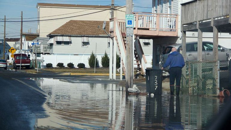 Flood waters linger on the streets of the back bay community of West Wildwood. (Emma Lee/WHYY, file)