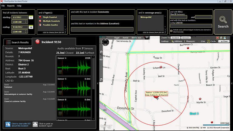 This image shows the screen an officer would see in their cruiser while using the new ShotSpotter technology. (Image courtesy of ShotSpotter)