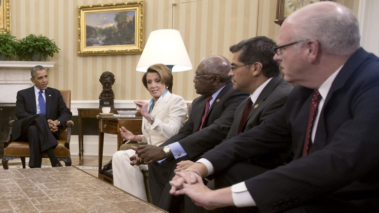 President Barack Obama, far left, is shown meeting with Democratic leadership in the Oval Office of the White House, Tuesday, Oct. 15, 2013. From left: House Minority Leader Nancy Pelosi of Calif., Rep. James Clyburn of S.C., Rep. Xavier Becerra of Calif., Rep. Joseph Crowley of N.Y. (AP Photo/Pablo Martinez Monsivais)