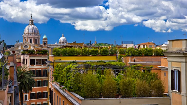 Green roofs top buildings in Rome.(<a href=