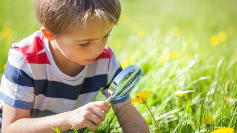 Young boy exploring nature photo via ShutterStock