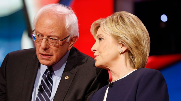 Democratic presidential candidates Bernie Sanders and Hillary Clinton are shown in October 2015. (<a href='http://www.shutterstock.com/pic-328825136/stock-photo-las-vegas-nv-october-cnn-democratic-presidential-debate-features-candidates-sen-bernie.html?src=JfyuUhSZDStJxBCbb07U3g-1-2'>Image</a> courtesy of Shutterstock.com)