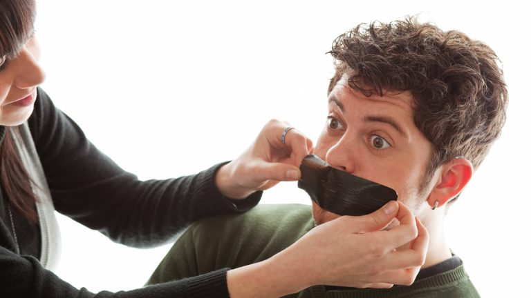 (<a href='http://www.shutterstock.com/pic-28841951/stock-photo-girl-sticking-a-piece-of-gaffer-tape-on-young-man-s-mouth.html'>Duct tape on mouth image</a> courtesy of Shutterstock.com)