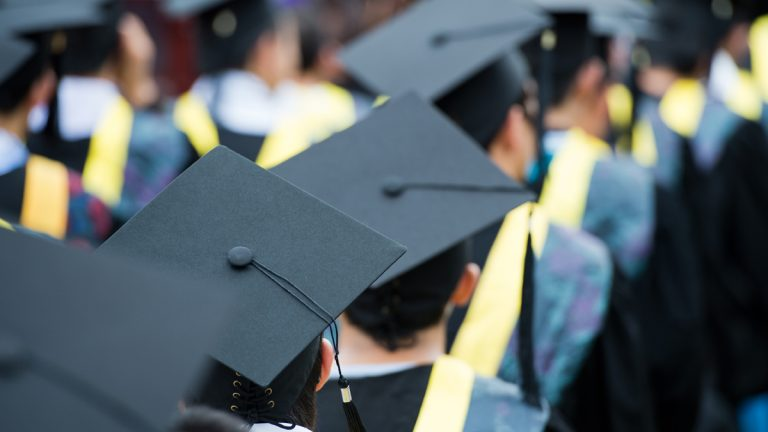 (<a href='http://www.shutterstock.com/pic-57140281/stock-photo-shot-of-graduation-caps-during-commencement.html'>Graduation image</a> courtesy of Shutterstock.com)