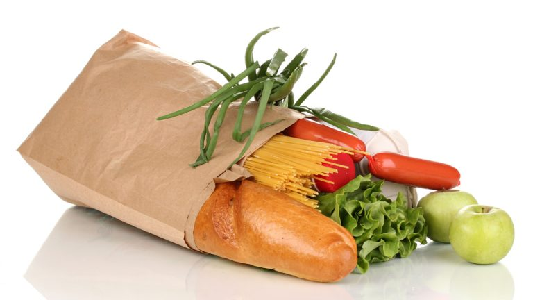 (<a href='http://www.shutterstock.com/pic-109936520/stock-photo-paper-bag-with-food-isolated-on-white.html'>Groceries image</a> courtesy of Shutterstock.com)