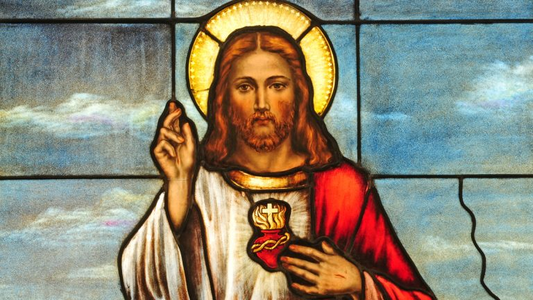 (<a href='http://www.shutterstock.com/pic-122508757/stock-photo-stained-glass-window-depicting-sacred-heart-of-jesus.html'>Iconographic Christian image</a> image courtesy  of Shutterstock.com)
