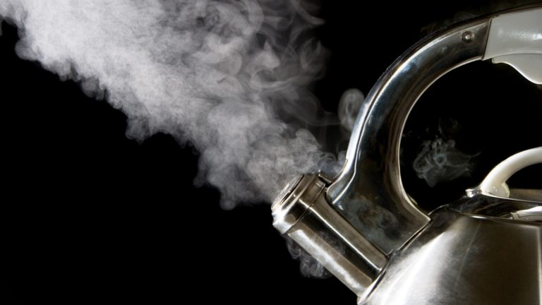 (<a href='http://www.shutterstock.com/pic-3353925/stock-photo-tea-kettle-with-boiling-water-steam-against-a-black-background.html'>Kettle</a> image courtesy of Shutterstock.com)