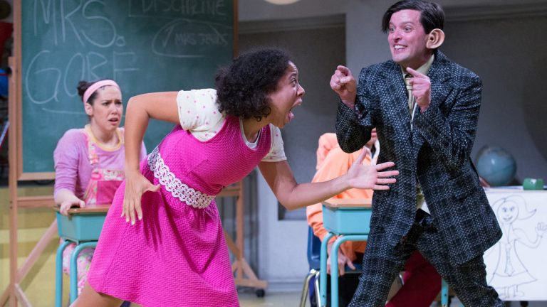From left, Alex Keiper, Taysha Canales and Steve Pacek in 'Sideways Stories from Wayside School' at Arden Theatre Company. (Photo courtesy of Mark Garvin)