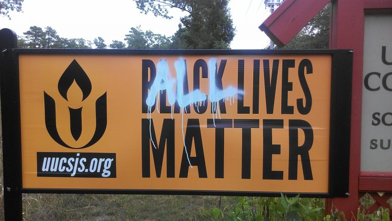 Vandalism on the 'Black Lives Matter' sign outside the Unitarian Universalist Congregation church in Galloway. (Betsy Erbaugh/UUCSJS)