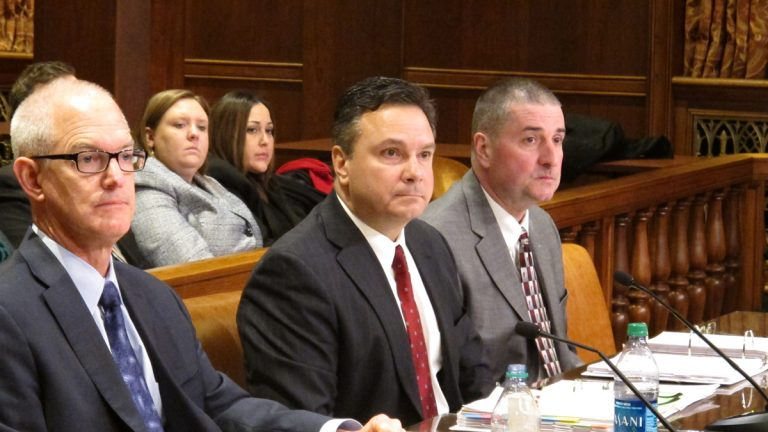 DEP Secretary Chris Abruzzo (center) with with deputy secretaries Jeff Logan (left) and Dana Aunkst (right) at the department's senate budget hearing in Harrisburg (Marie Cusick/StateImpact Pennsylvania)
