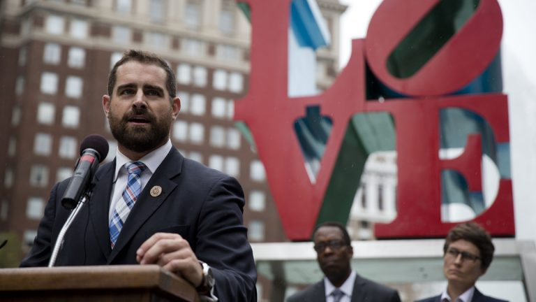State Rep. Brian Sims, D-Philadelphia, is shown speaking at a September 2014 protest at John F. Kennedy Plaza in Philadelphia calling on Pennsylvania to add sexual orientation to its hate crime law. (AP Photo/Matt Rourke, file)
