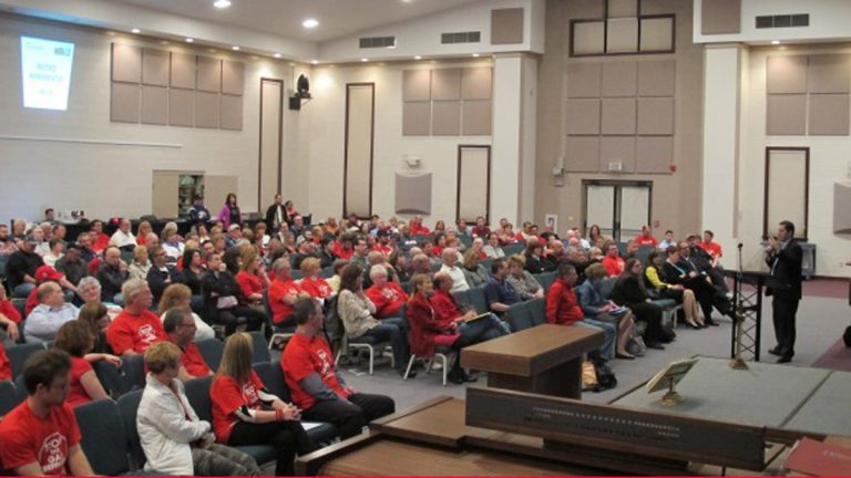 State Rep. Jim Cox (R- Berks) spoke to about 300 people who attended a meeting to oppose the GTL plant (Marie Cusick/StateImpact Pennsylvania)