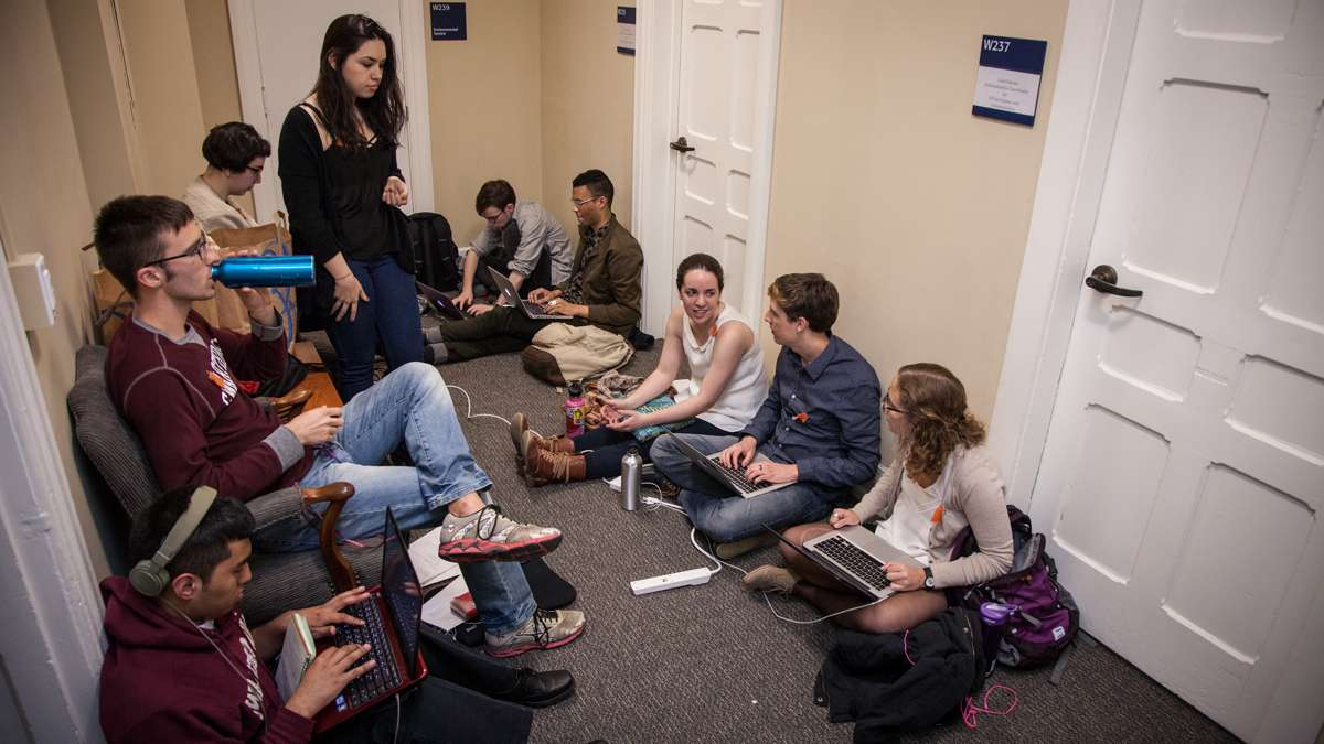 Students gather outside of the administration offices. As of 1 p.m. no administrators had approached the students to start a dialogue. (Emily Cohen/For Newsworks)