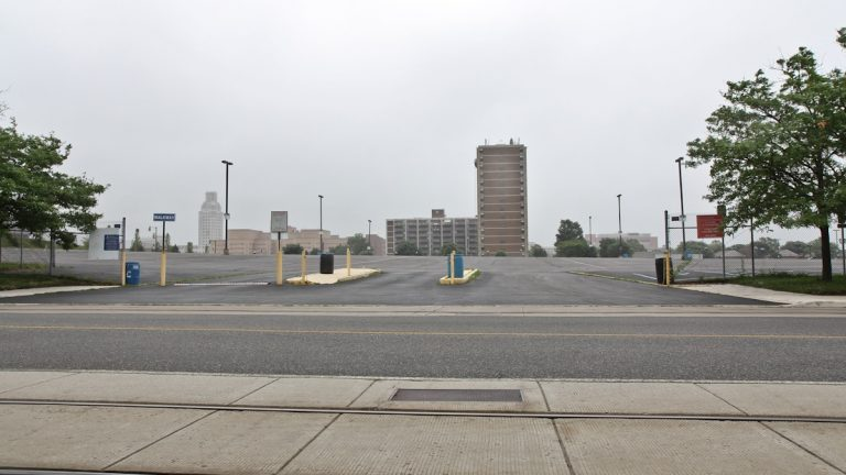 The site of the new Sixer's practice stadium is located on the Southeast corner of Martin Luther King Blvd. and Delaware Ave. in Camden, between the Susquehanna Bank Center and the Adventure Aquarium. (Kimberly Paynter/WHYY)