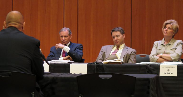 State Sen. John Eichelberger, R-Blair; Sen. Rob Teplitz, D-Dauphin; and Rep. Mindy Fee, R-Manheim; listen to testimony during a joint Local Government Committees hearing. (Emily Previti/WHYY)