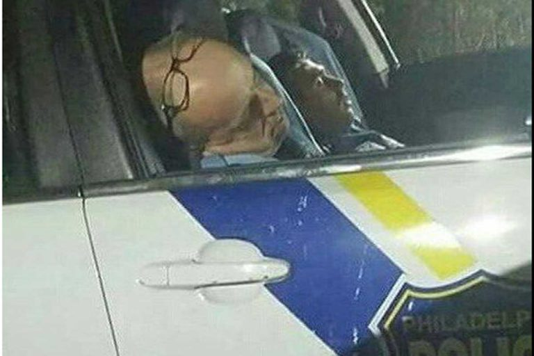 Twitter user @LuvonTop13 took this photo over the weekend of two officers who were sleeping while on duty in the Kensington area.