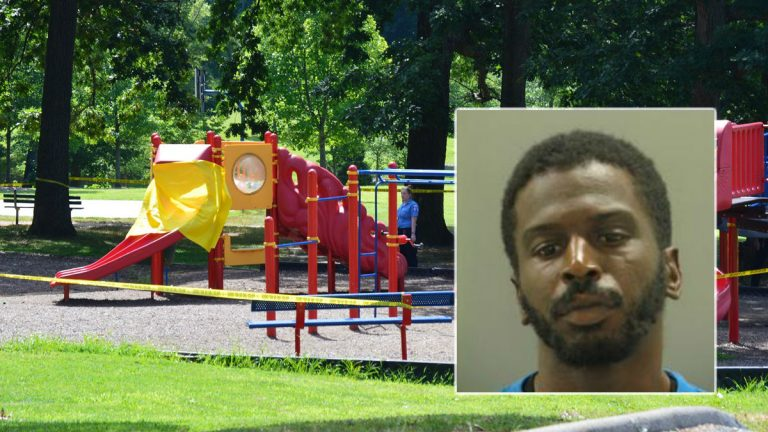 Police discovered Jamie Murphy's body on the slide at Canby Park. Her boyfriend, Gary Perkins, is now charged in her death. (John Jankowski/for NewsWorks)