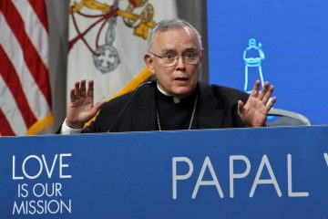 Philadelphia Archbishop Charles Chaput reacts to questions about those sexually abused by clergy over the years during a press conference intended to celebrate the success of the papal visit. (Emma Lee/WHYY)