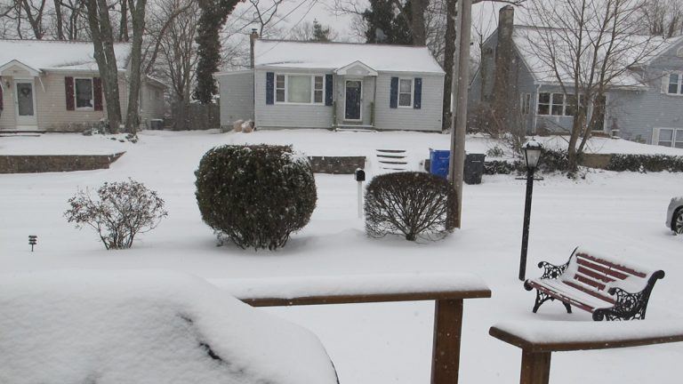 The latest snowfall covers the ground in Brick, N.J. (Phil Gregory/for NewsWorks)