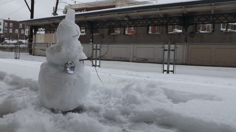 Here's one of our favorite shots from last year. This snowman is holding a beer and waiting for the train at Wissahickon station. (Courtesy of Vilnis Valentine Chakars)