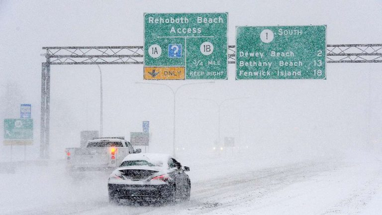 While most Delaware roads were cleared from snow Monday