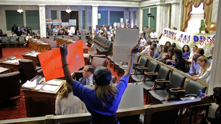 City Council chambers filled with protesters prior to a vote Wednesday night on the controversial sugary drinks tax. (Emma Lee/WHYY)