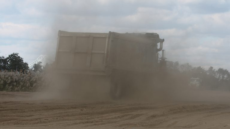 Shown here is a photo of Soil Safe dumping materials at the Equine Park in Gloucester County, New Jersey. (Image courtesy of the Delaware Riverkeeper Network)