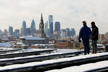 A view from the rooftop of the Crane Arts building in Philadelphia's South Kensington section. (Nathaniel Hamilton/WHYY)