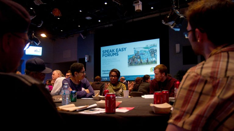 About 100 people gathered at WHYY studios for the first in a series of public Speak Easy forums. The topic this time,