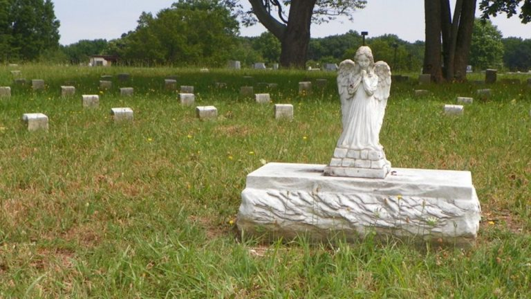Stones marked with only numbers surround this sculpted angel at the cemetery on the DHSS campus near New Castle. (photo courtesy DCRC)