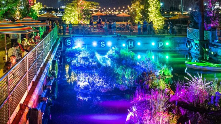 Spruce Street Harbor Park, the summer pop-up park at Penn's Landing, has been extended through September 28. (Photo courtesy of the Delaware River Waterfront Corporation)
